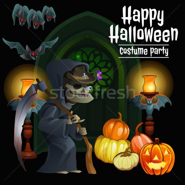 Poster halloween tatil vektör karikatür Stok fotoğraf © Lady-Luck