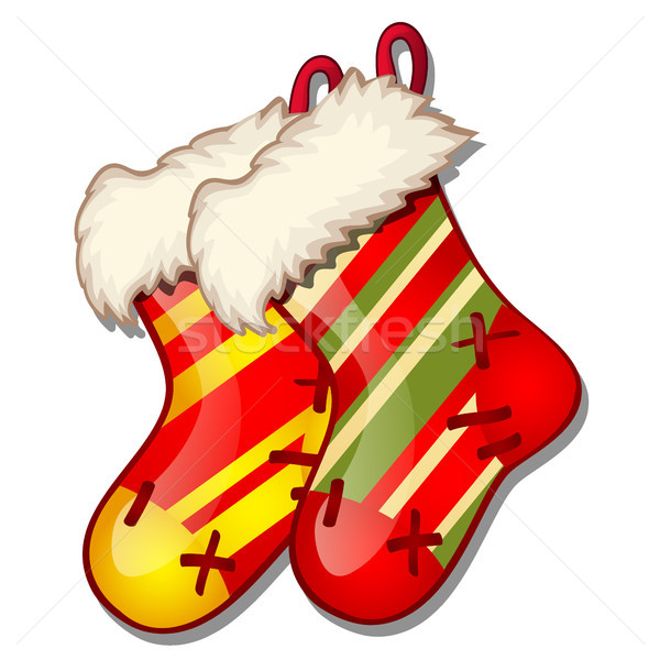 Set of hanging colored fur boots red and green colors isolated on white background. Sketch for greet Stock photo © Lady-Luck