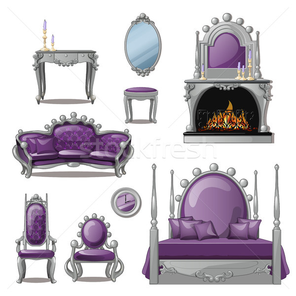 A set of furniture and accessories for living room interior in grey and purple. Vintage style. Vecto Stock photo © Lady-Luck