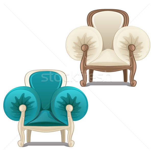 Two chairs with soft armrests. Vector illustration. Stock photo © Lady-Luck