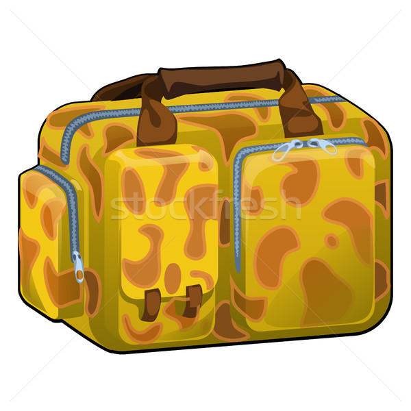Travel bag with texture on a theme of giraffe close-up isolated on white background . Vector cartoon Stock photo © Lady-Luck