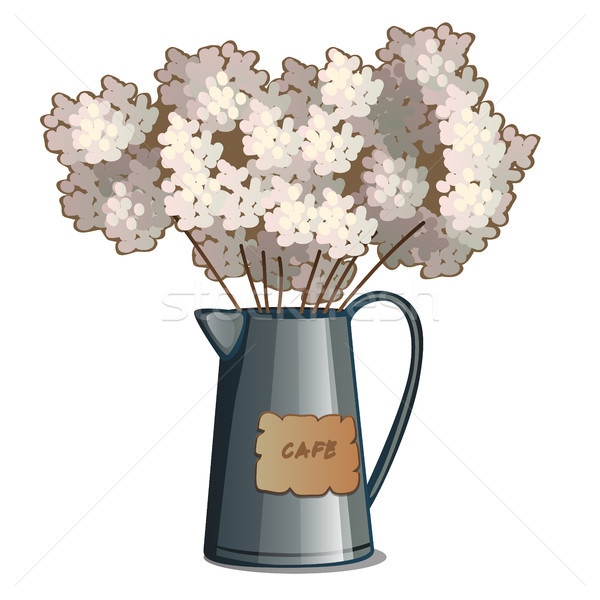 Metal exuberante flores blancas fragante ramo Foto stock © Lady-Luck