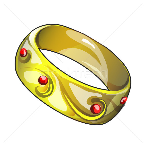 Dorado anillo aislado blanco vector Cartoon Foto stock © Lady-Luck