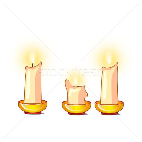 Fehér gyertyák égés izolált vektor rajz Stock fotó © Lady-Luck