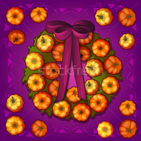 Poster or postcard style Halloween holiday. Round wreath with ornaments in the form of miniature rip Stock photo © Lady-Luck