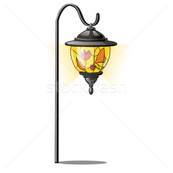 Vintage street lantern with stained glass. Vector illustration. Stock photo © Lady-Luck