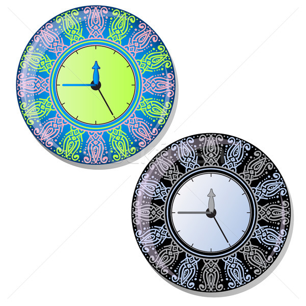 Round dial wall clock with striking ornament of the dial. Vector illustration. Stock photo © Lady-Luck