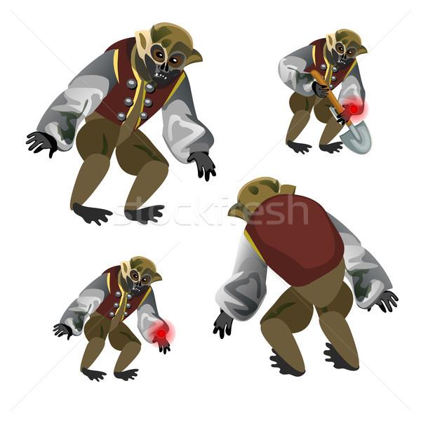 Set fantasy zombie monkey isolated on white background. Vector cartoon close-up illustration. Stock photo © Lady-Luck