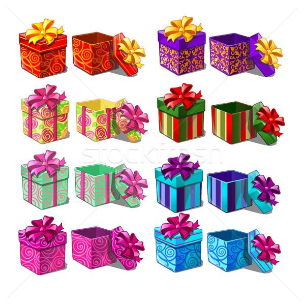 Nagy szett ajándékdobozok izolált fehér vektor Stock fotó © Lady-Luck