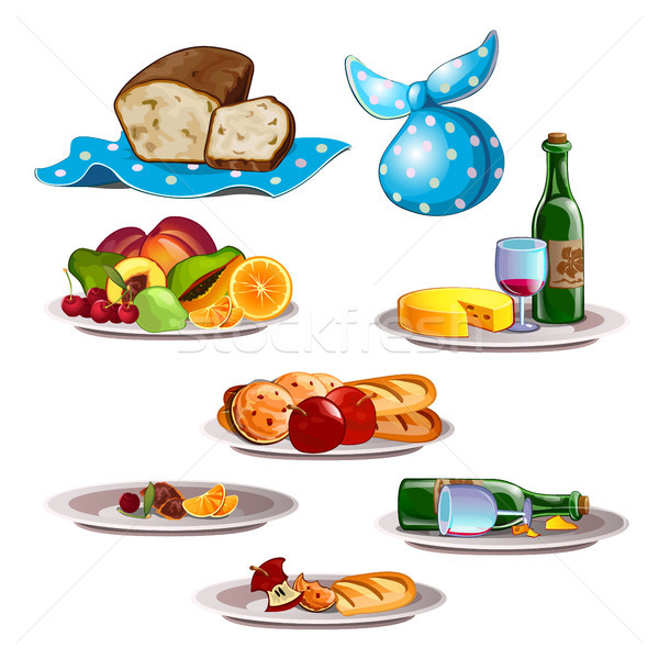 Set of food and leftovers isolated on white background. Vector cartoon close-up illustration. Stock photo © Lady-Luck