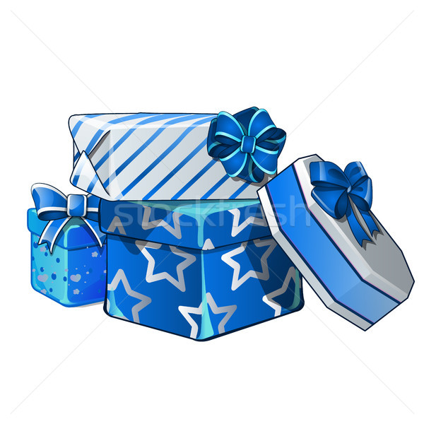 Pile of gift boxes wrapped in bright wrapping paper, isolated on white background. Vector cartoon cl Stock photo © Lady-Luck