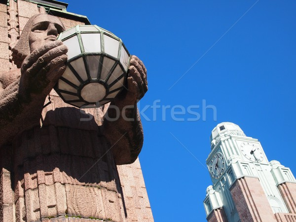 Helsinki gare horloge bleu pierre Photo stock © Laks