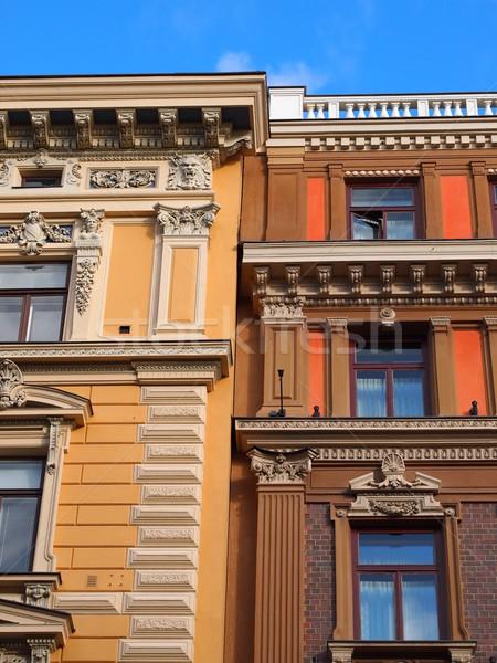 Helsinki architettura costruzione pietra case Windows Foto d'archivio © Laks
