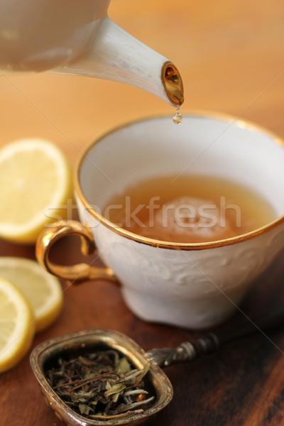 Chá folha fruto beber limão copo Foto stock © Laks