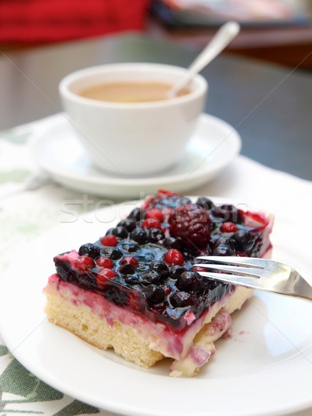 Berry Cake and Coffee Stock photo © Laks