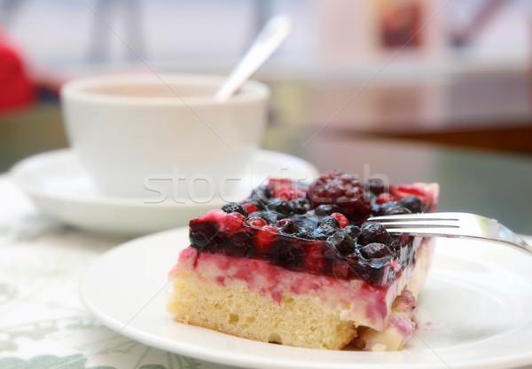 Berry torta caffè forcella Cup Foto d'archivio © Laks