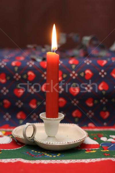 Candela inverno rosso fiamma Natale stagione Foto d'archivio © Laks
