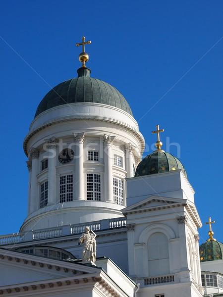 Helsinki cattedrale costruzione clock chiesa blu Foto d'archivio © Laks