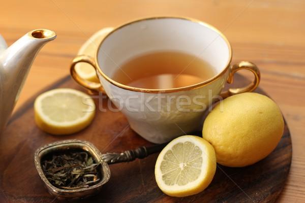 Chá fruto folhas copo quente amarelo Foto stock © Laks