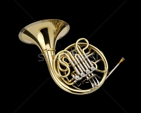 Frans hoorn wind instrument zwarte kunst Stockfoto © lalito