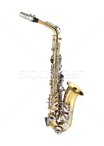 Saksofon rüzgâr enstrüman beyaz Metal altın Stok fotoğraf © lalito