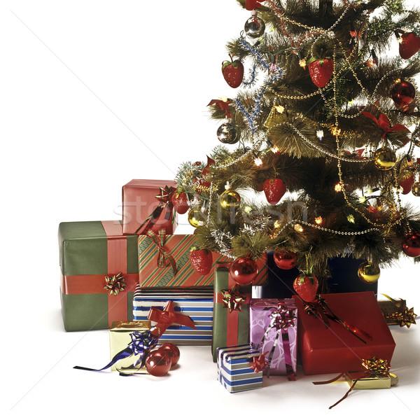 Christmas kerstboom decoraties lichten geschenken Stockfoto © lalito