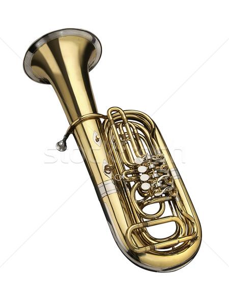 Tuba wind instrument witte kunst goud Stockfoto © lalito