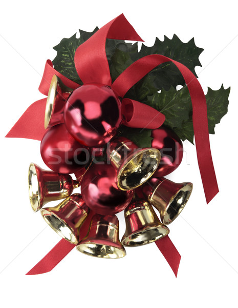 Christmas decoratie groene bladeren Rood goud Stockfoto © lalito