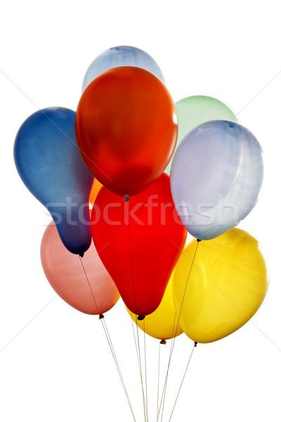 Balonlar farklı renkler beyaz doğum günü top Stok fotoğraf © lalito