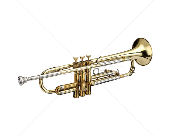 Trompet rüzgâr enstrüman beyaz sanat altın Stok fotoğraf © lalito