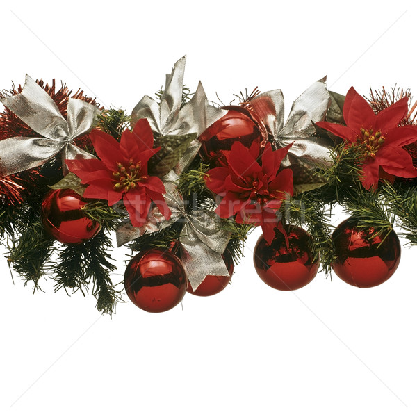 Christmas decoratie witte bogen rode bloemen Stockfoto © lalito