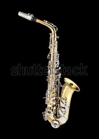 Saksofon rüzgâr enstrüman siyah Metal altın Stok fotoğraf © lalito