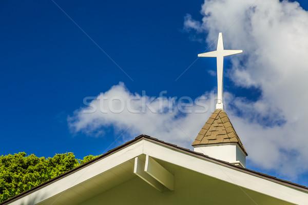 çapraz çatı küçük küçük kilise gökyüzü bulutlar Stok fotoğraf © LAMeeks