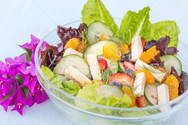 тропические лет Салат плодов овощей Тофу Сток-фото © LAMeeks