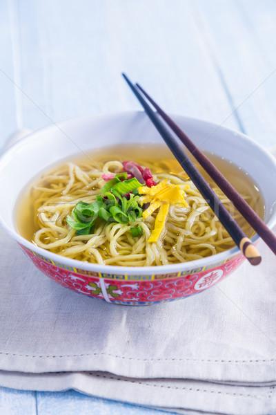 çorba klasik domuz eti yumurta yeşil soğan Stok fotoğraf © LAMeeks