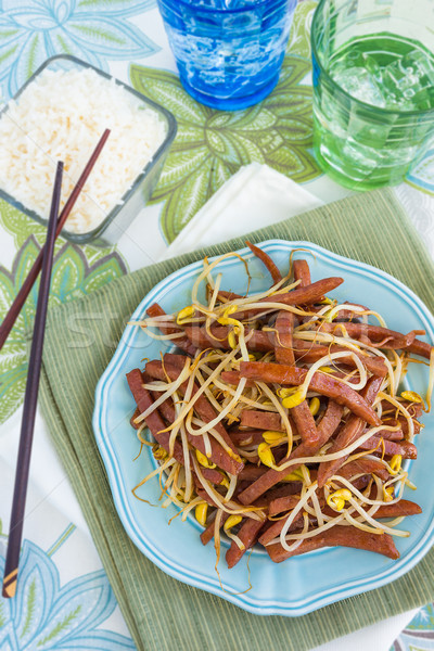 Spam Bean Sprout Stir Fry Stock photo © LAMeeks