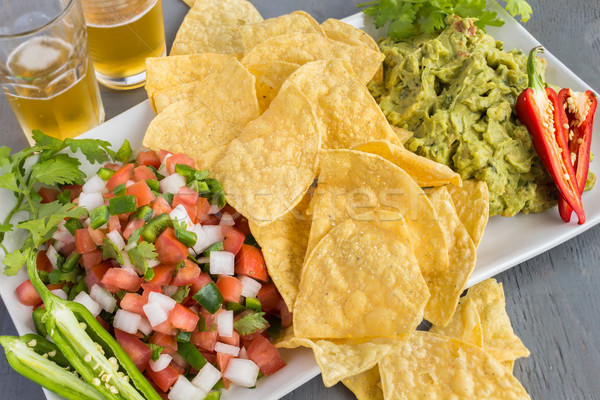 Guacamole and Pico de Gallo Stock photo © LAMeeks