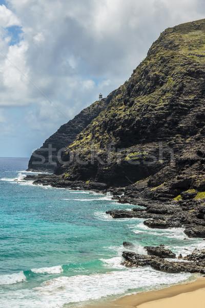 Punt kust vuurtoren strand water Stockfoto © LAMeeks