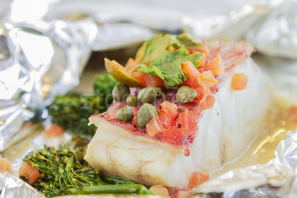Island Snapper en Papillote Stock photo © LAMeeks
