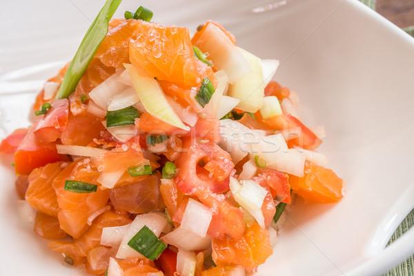 鮭 伝統的な サイドディッシュ トマト タマネギ 食品 ストックフォト © LAMeeks