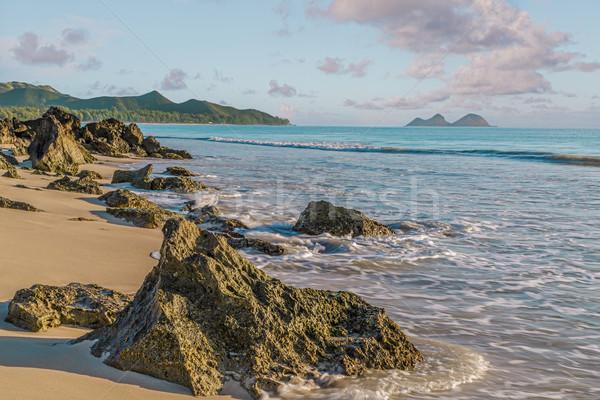 Strand rock wal dawn hemel water Stockfoto © LAMeeks