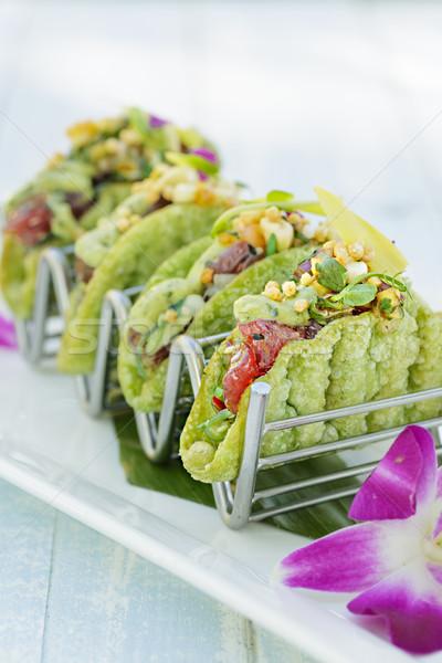 Mini tacos avokado ada salsa kabuk Stok fotoğraf © LAMeeks