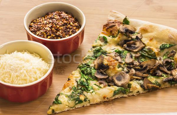 Spinach, Mushroom and Garlic Pizza Stock photo © LAMeeks