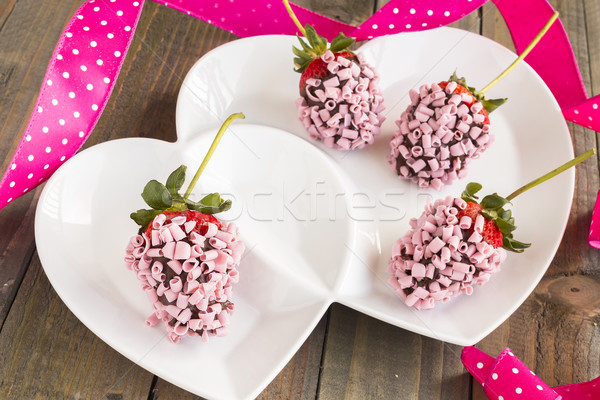 Pink Chocolate Strawberries Stock photo © LAMeeks
