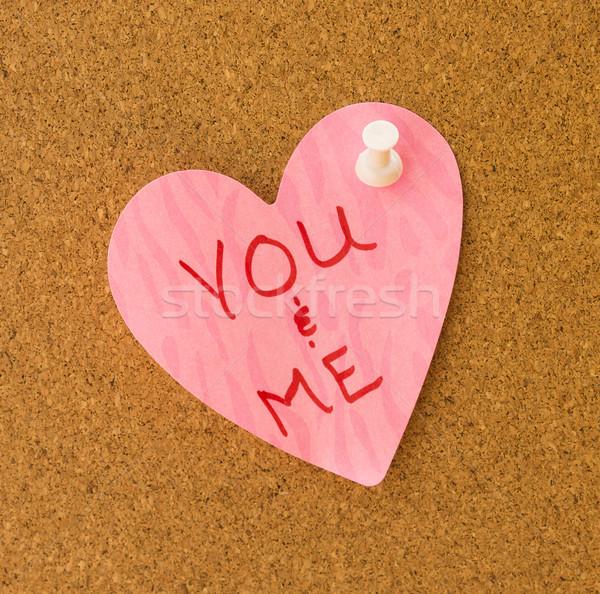 Me rosa coração memorando escrito padrão Foto stock © LAMeeks