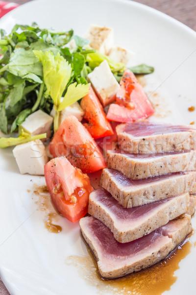 ストックフォト: トマト · サラダ · 食品 · 赤 · 白 · ピンク