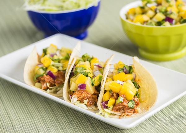 Stock fotó: BBQ · tyúk · taco · kukorica · saláta · barbecue