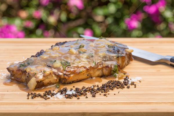 Biefstuk rib oog voedsel mes Geel Stockfoto © LAMeeks