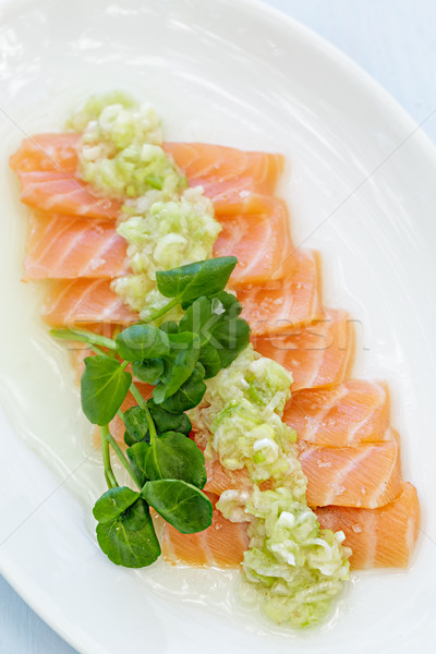 Somon sashimi yeşil soğan sos balık turuncu Stok fotoğraf © LAMeeks