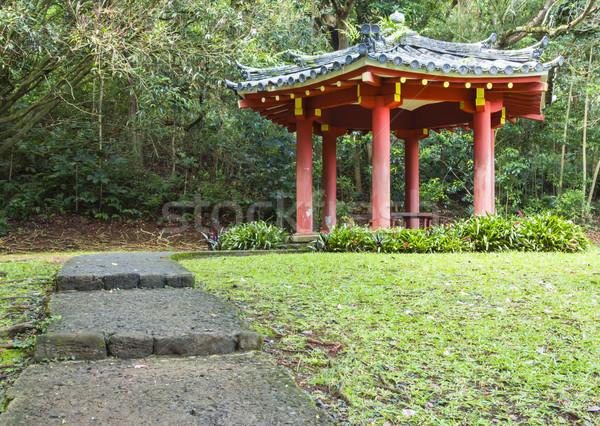 Japán pagoda ösvény vezető templom völgy Stock fotó © LAMeeks